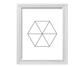 Hexagon Print, Abstract Print, Scandinavian Print, Minimalist Print, Geometric Print, Hexagon Triangle Print, Modern Wall Art, Simple Print