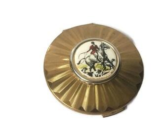 "Rare Vintage Stratton England Powder Compact Fox Scene, Horse and Fox Hounds, 2 3/4"" Diameter"