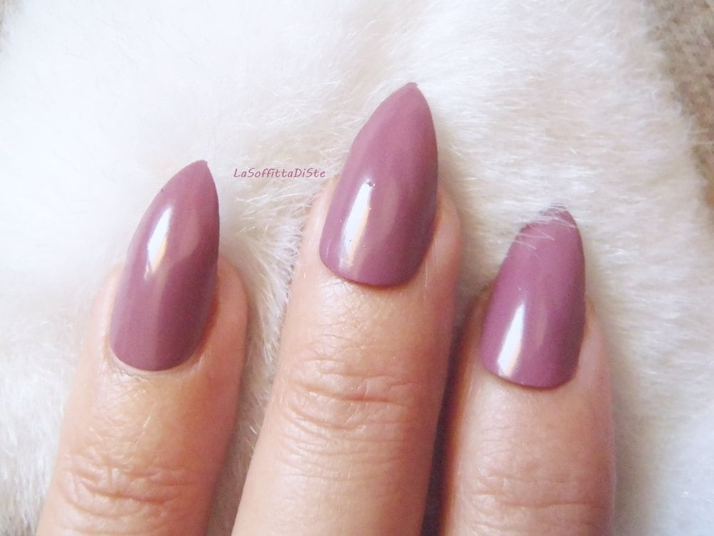 20 puce stiletto false nails almond glossy pink purple full