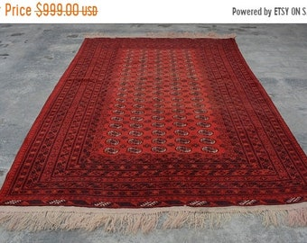 BIG SALE SIZE : 6'8 X 10' Feet / Handmade Afghan Sarouk Tribal Flat weave area rug