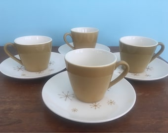 4 Vintage Atomic Coffee/Tea Cups with Saucers - Star Glow Pattern