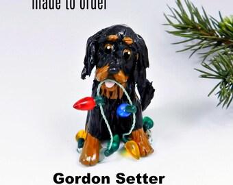 Gordon Setter Porcelain Christmas Ornament Figurine Made to Order
