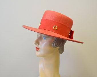 1960s Ann Marie Red Straw Hat