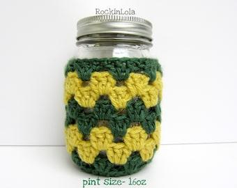 mason jar cozy - green and gold - mason jar sleeve - half pint - pint - quart - coffee cozy - crochet cozy - handmade by RockinLola
