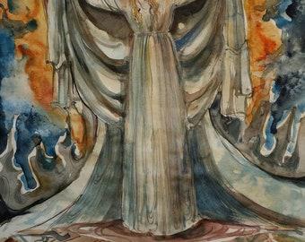 Flights of Fancy Original Painting Dreams Imagination Fantasy Fairyland Edwardian Lady Victorian White Flowing Dress Parrot Doves Innocent