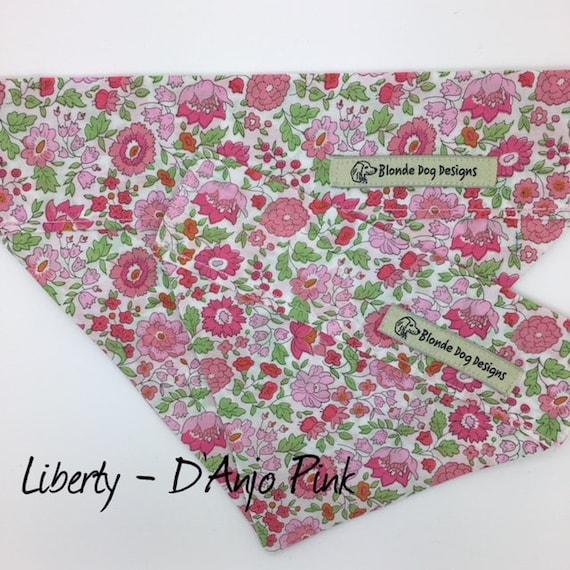 Liberty Dog Bandana, D'Anjo Pink, Floral Dog Bandana, Liberty Neckerchief, Pretty Dog Bandana, Luxury Dog Bandana