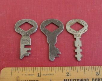 3 Miller Lock Co., Philadelphia USA Vintage Flat Keys