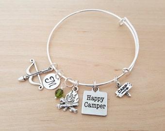 Happy Camper Bracelet - Personalized Bracelet - Adjustable Bangle Bracelet - Birthstone Bracelet - Personalized Jewelry - Silver Bangle