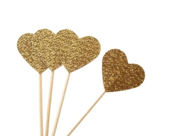 Glitter Gold Heart Cupcake Toppers 24CT, Heart Food Picks, Gold Toothpicks, Wedding Party Decoration, Valentines Day, Engagement  - No625