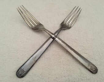 Antique W.F. Rogers Silverplate Dinner Forks, Crafting Vintage Dinner Forks, Vintage Silverplate Craft Supplies
