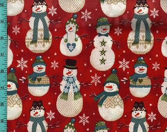 Snowmen Smiling Red, Printed Crafting Quilting Fabric Home Decor