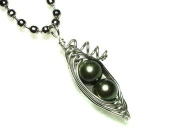 Peas in a Pod, Pea Pod Necklace, Pea Pod Jewelry, Two Peas, Personalized Colors