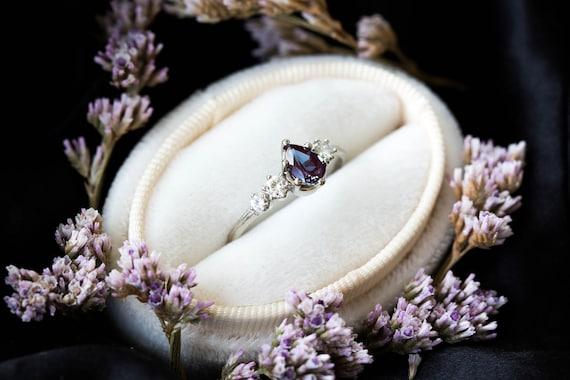 Cluster alexandrite 14k gold engagement ring, 14k gold twig engagement ring, unique engagement, alexandrite engagement ring, cluster ring