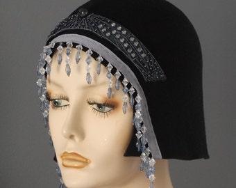 ON SALE felt beaded flapper hat. black felt 1920s hat, bead fringe felt cloche, black 1920s cloche, blue beaded fringe cloche, 20s party