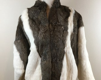 Like New Vintage 1980's Sergio Valente Brown and White Batwing Rabbit Fur Coat