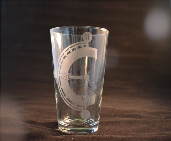 Chrono Trigger etched Pub glass