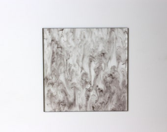 "3mm W207 Clear and grey marble acrylic perspex sheet ""Night Sky"" 120x120mm"