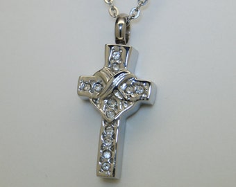 CZ Cross Cremation Urn Necklace in Stainless Steel || Ashes Keepsake || Memorial Necklace