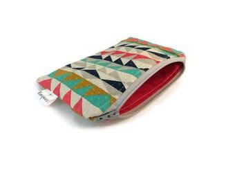 Geometric Triangle Snack Bag || Reusable Sandwich Bag || Reusable Snack bag || Eco Friendly Gift || Zippered Pouch || Food Safe Bag