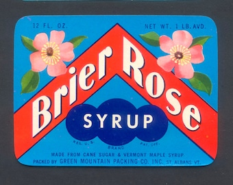 Four Vintage Brier Rose Syrup Labels - 1930's and 1940's - Collage, Altered Art, Mixed Media, ATC