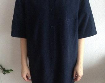 70s Vintage Navy Dark Blue Shortsleave Embroidered Comfortable Blouse for Women