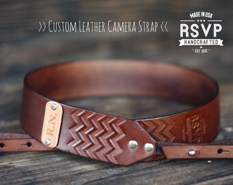 Custom Leather Camera Strap, Handmade personalized gift, Brown stain, Chevron, hipster zig zag, Custom text, name initials