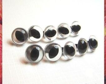 15 mm CLEAR CAT Amigurumi eyes Plastic eyes Safety eyes - 5 PAIRS (15cc)