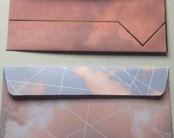 10 Patterned Pink and Blue Envelopes