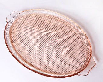 Homespun Pink Depression Glass Serving Platter  or Tray by Jeannette Glass Co