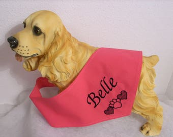 Pink bandana to customize name of your dog L, XL, XXL