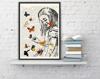 Alice in Wonderland Playing with butterflies print on Vintage Dictionary Book art ,book print,  ALW044b