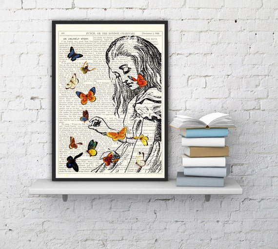 Decorative art_ Alice in Wonderland Playing with butterflies, Wall hanging Alice art print on Vintage Dictionary Book ALW044