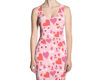 Valentine Dress Valentine's Day Gift Girl Wine Roses Balloons Love Hearts Cute Valentine Heart Dress Valentines For Her Made In The USA