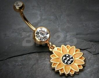 Golden Beach Sunflower Belly Button Ring