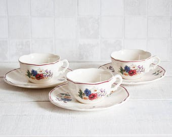 Set of 3 vintage french Digoin cups and saucers - Romantic floral decor porcelain - Shabby Chic