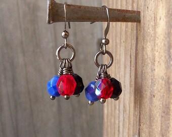 Lightweight Earrings - Short Dangle Earrings - Women's Earrings - Blue and Red Earrings - Gift for Her - Bead Earrings - Patriotic Earrings