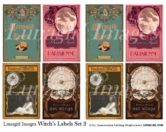 WITCHES LABELS, digital collage sheet, vintage images, Vintage Halloween potions spells tags, gothic spooky, altered art, ephemera, DOWNLOAD