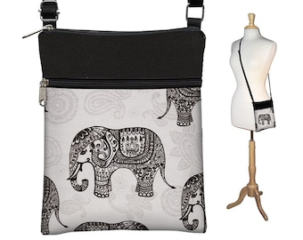 Sling Bag Shoulder Purse Elephant Cross Body Bag Small Travel Purse Zipper Fits eReaders Paisley Gray Black RTS
