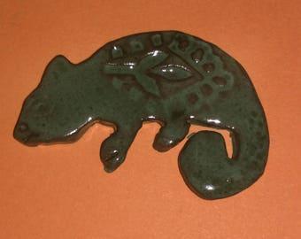 Ceramic clay Chameleon pin brooch. TWOPI1DB
