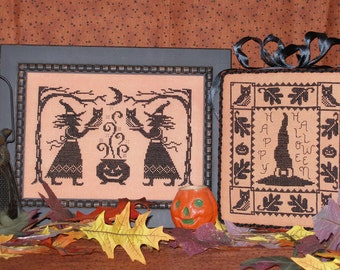 BEWITCHED; 2 Vintage-look WITCH designs for cross stitch; Instant Digital Download; Antique-inspired Halloween Designs!