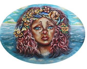 Surreal Mermaid Art Print- Mermaid Wall Art Decor- Betta Fish Painting- Women Portrait Art Print- Seascape Painting- Pop Surrealism Print
