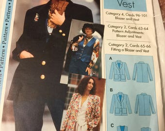 Blazer, tailored jacket, and vest, sewing pattern,  Size 4-22