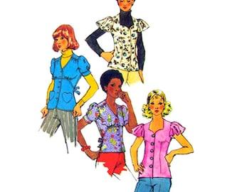 70er Jahre Bluse Muster Einfachheit 5803 herzförmiger Ausschnitt oben Rüsche oder Puff Ärmel Damen Größe 10 12 oder 14 Schnittmuster