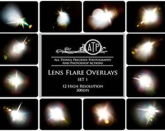 12 Fine Art Digital LENS FLARE Overlays / Textures Set 1