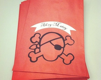 "Set of 10 - Pirate Favor Bags - Red, Black & White - 6x9"" - candy bags, favor bags, goodie bags, gift bags, thank you bags"