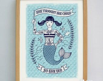Girls Graduation Gift | Girls Quote Print | Gifts for Girls | Tattoo Design | Nautical Print | Girls Gifts | Mermaid Print | Seaside Print