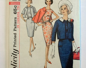 Simplicity 1960s Jackie Kennedy Style Dress Suit Pattern 5780 Size 12 bust 32