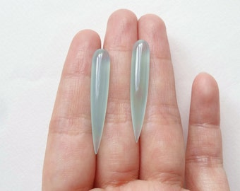 Aqua Chalcedony Smooth Long Spike Fang Icicle Drops 6x35 mm One pair G5734