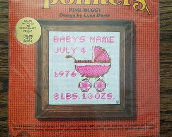 Needle Pointers Baby Carriage Needle Point Kit, Sunset Designs Needlepoint Baby Announcement