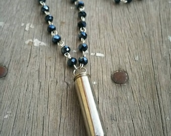 Bullet Necklace / Bullet Pendant / Beaded Necklace / Bullet Jewelry / Western Jewelry / Layering Necklace / 223 / Bear and Her Honey